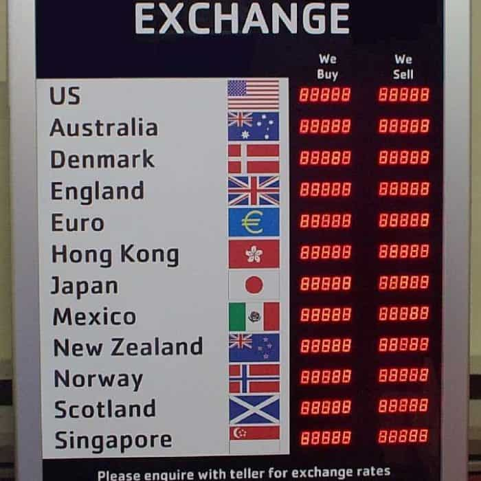 digital exchange rate board