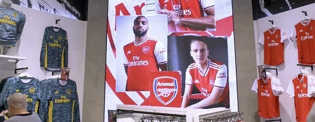 Indoor LED video display at Arsenal FC club store